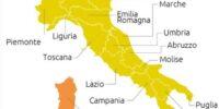 COVID: L'ITALIA QUASI TUTTA GIALLA, TRE REGIONI ARANCIONI E NESSUNA IN ROSSO
