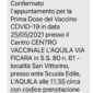"""L'AQUILA, PROTESTE SU PRENOTAZIONE VACCINI: """"CAOS COMUNICAZIONI SMS, SEDI SBAGLIATE"""""""